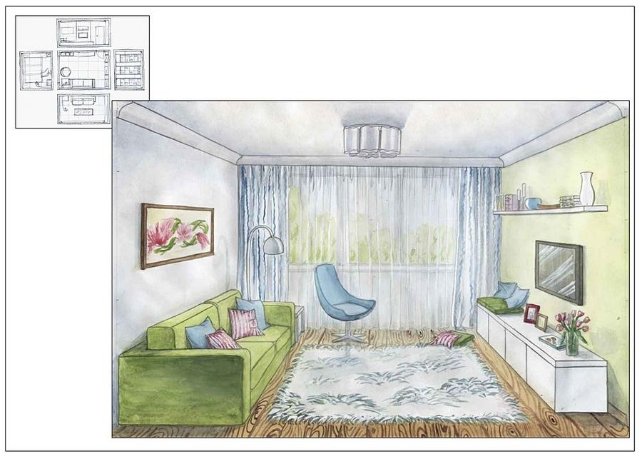 как нарисовать эскиз комнаты: