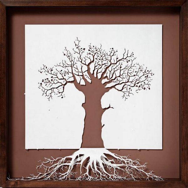 Картины вырезанные из белого листа бумаги