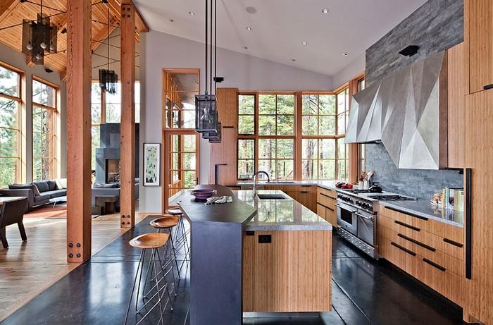 Дом в Тахо - красивая отделка интерьеров деревом