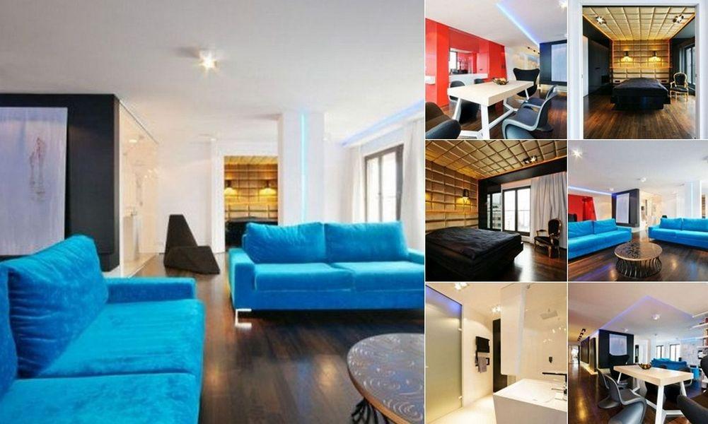 Интерьер современной квартиры с использованием контрастных цветов