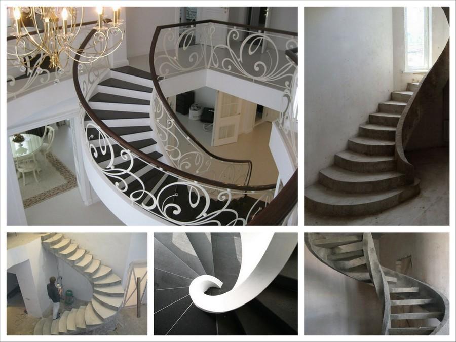 Бетонная лестница на сегодняшний день считается наиболее надежной и прочной из всех. В зависимости от общей стилистики, бетонные лестницы могут иметь практически любой вид и форму. Они отлично подходят как для частных домов и дачных коттеджей, так и для общественных зданий и офисов.  Железобетонные лестницы - самый гибкий в плане дизайна вид лестниц. Они могут иметь любое количество ступеней и маршей. Внешне лестницы из бетона могут быть стилизована с помощью отделки под дерево, камень, ламинат или паркет. Благодаря этому бетонные лестницы для дома можно сделать в любом известном стиле интерьера: модерн, хай-тек, барокко и т.д. Кроме того, это самые безопасные лестницы, потому что они не горят, не набирают влагу и практически не шумят при ходьбе. Срок эксплуатации монолитной лестницы равен сроку эксплуатации здания, в котором она размещена. Как правило возводят такие лестницы один раз и навсегда.  Проектирование лестниц в доме  Проектирование лестниц - один из важнейших этапов при их постройке. Первым делом необходимо выбрать место для расположения лестницы. Лучше всего размещать лестницу в прихожей. Разместив лестницу в общей комнате вы превратите её в проходную. При выборе места для лестницы руководствуйтесь такими общепринятыми правилами:  - лестница на второй этаж или лестничная клетка следует размещать как можно ближе к главному входу; - площадь лестницы должна занимать как можно меньше полезного пространства помещения;  - проход от входа к лестнице или лестничной клетке должен быть смещен к одной из стен помещения, а не пересекать его посередине или по диагонали;  - лестница должна быть обращена ступенями ко входу в помещение, в котором находится, если не всеми, то непременно несколькими первыми; - лестница, ведущая в подвал, должна быть максимально приближена как к основной лестнице дома, так и ко входу в дом.   Процесс изготовление бетонных лестниц  Изготавливают железобетонные лестницы, как вы понимаете из бетона и железа, а именно, из арматуры. Сначала дел