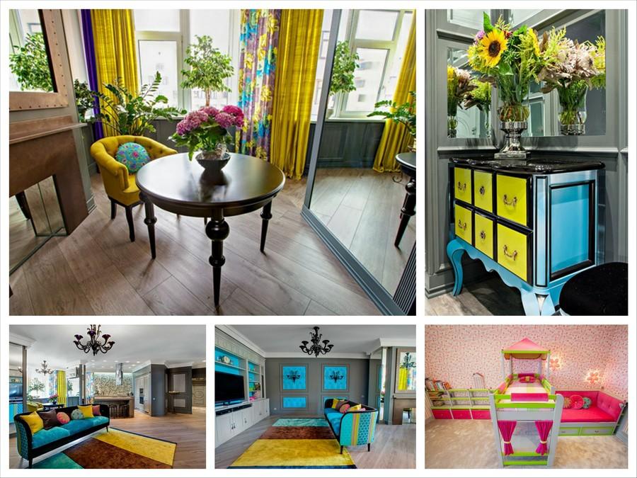 Яркий и современный дизайн интерьера квартиры в Киеве