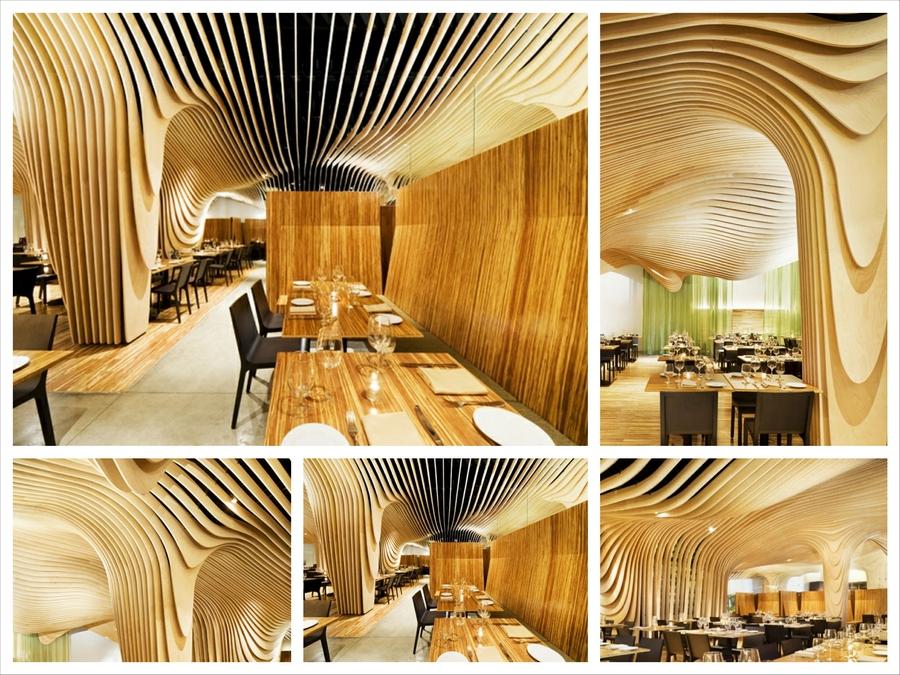Интерьер в деревянном стиле для ресторана BANQ