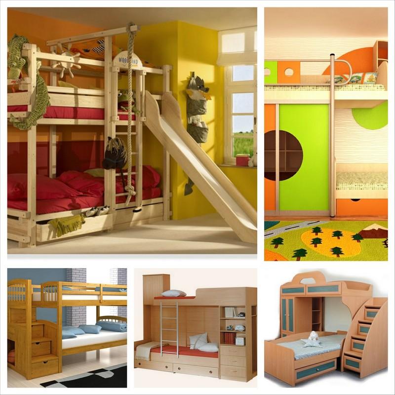 Двухъярусные детские кровати в интерьере детской комнаты