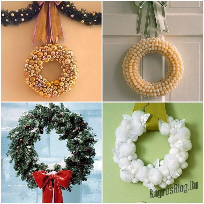 Как сделать новогодние венки на двери своими руками