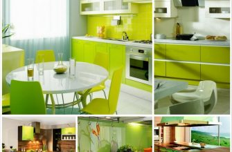 Зеленый цвет в интерьере кухни для вегетарианцев