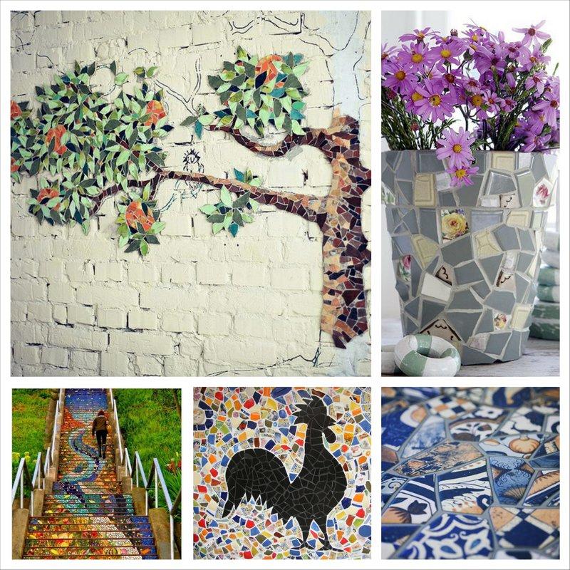 Мозаика из битой керамической плитки - интересное увлечение для всей семьи 13