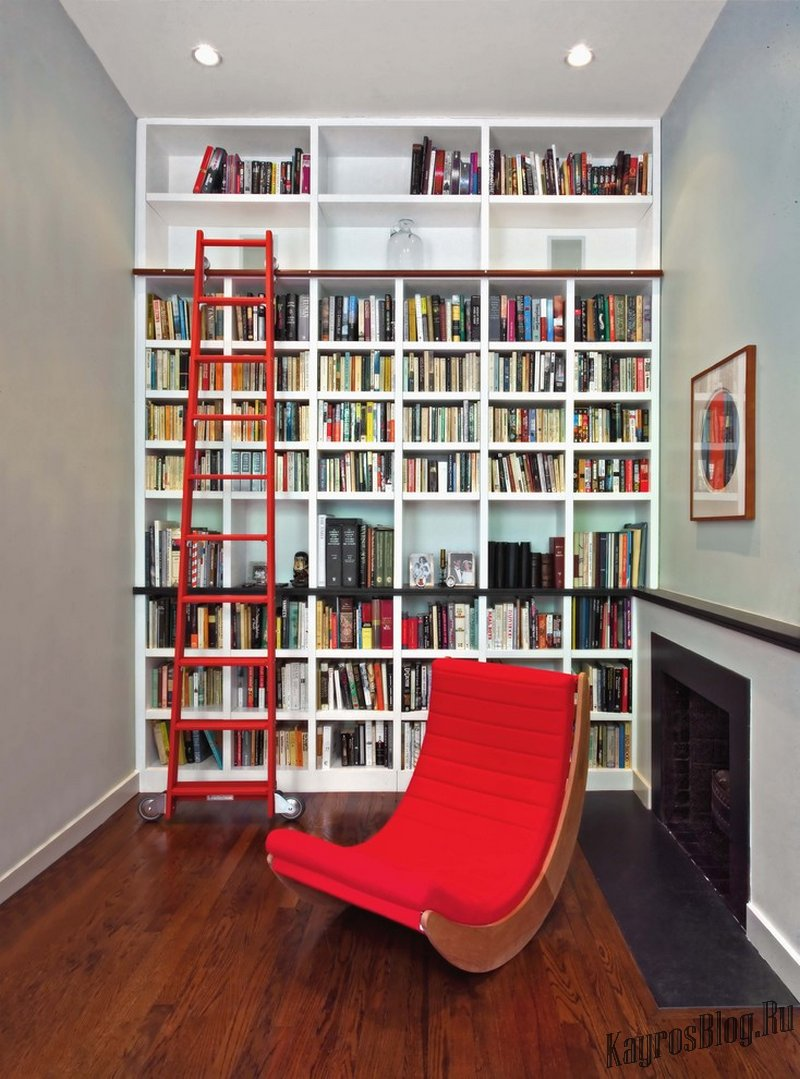 Домашняя библиотека в интерьере.