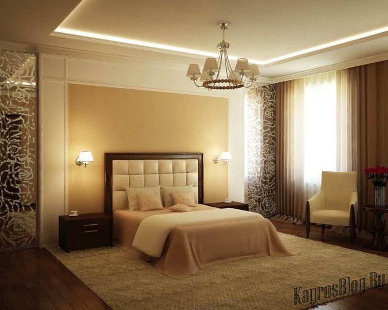 сочетание цветов в спальне фото