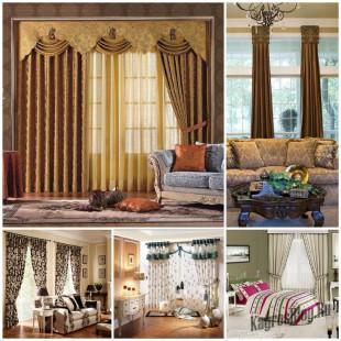 Шторы для гостиной комнаты – модный выбор и цветовое сочетание в интерьере