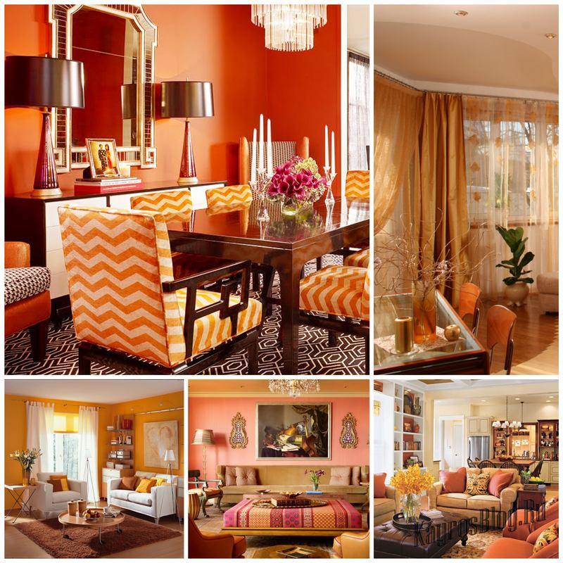 Как оформить гостиную в оранжевых тонах