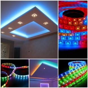 Светодиодное многоцветное подсвечивание потолка RGB-лентой