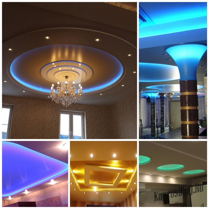 Натяжной потолок с подсветкой какие есть варианты