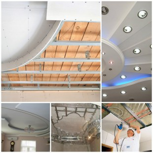Монтаж подвесной потолочной конструкции из гипсокартона