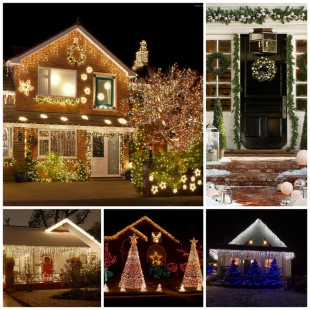 Оригинальное новогоднее оформление фасада частного дома