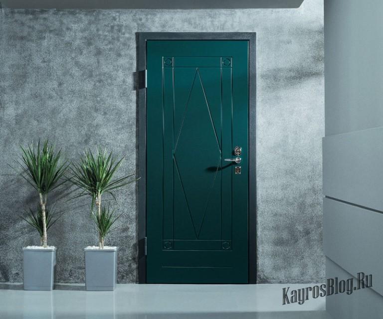 стальная дверь зеленый мдф на заказ