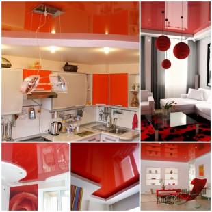 Красные натяжные потолки в интерьере квартиры 6