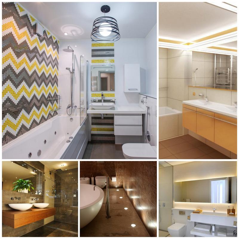 Дизайн кафельной плитки в ванной: Освещение в ванной
