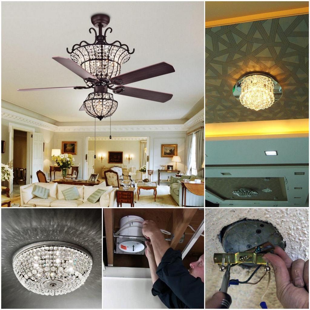 Как установить люстру для подвесного потолка