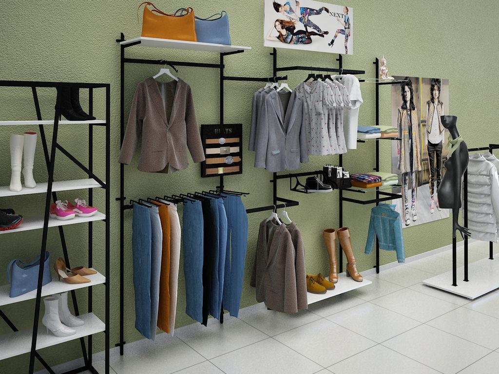 торговое оборудование для магазина одежды фото двойные или тройные