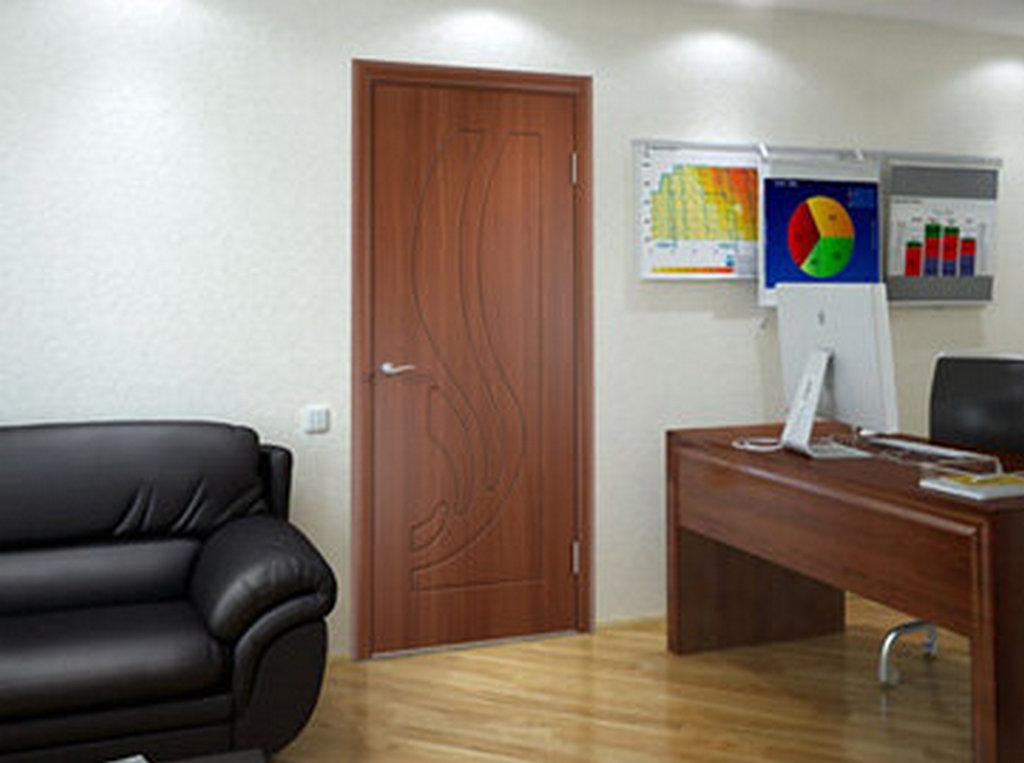 Дверь в дизайне кабинет. Покрытие ПВХ. Цвет итальянский орех