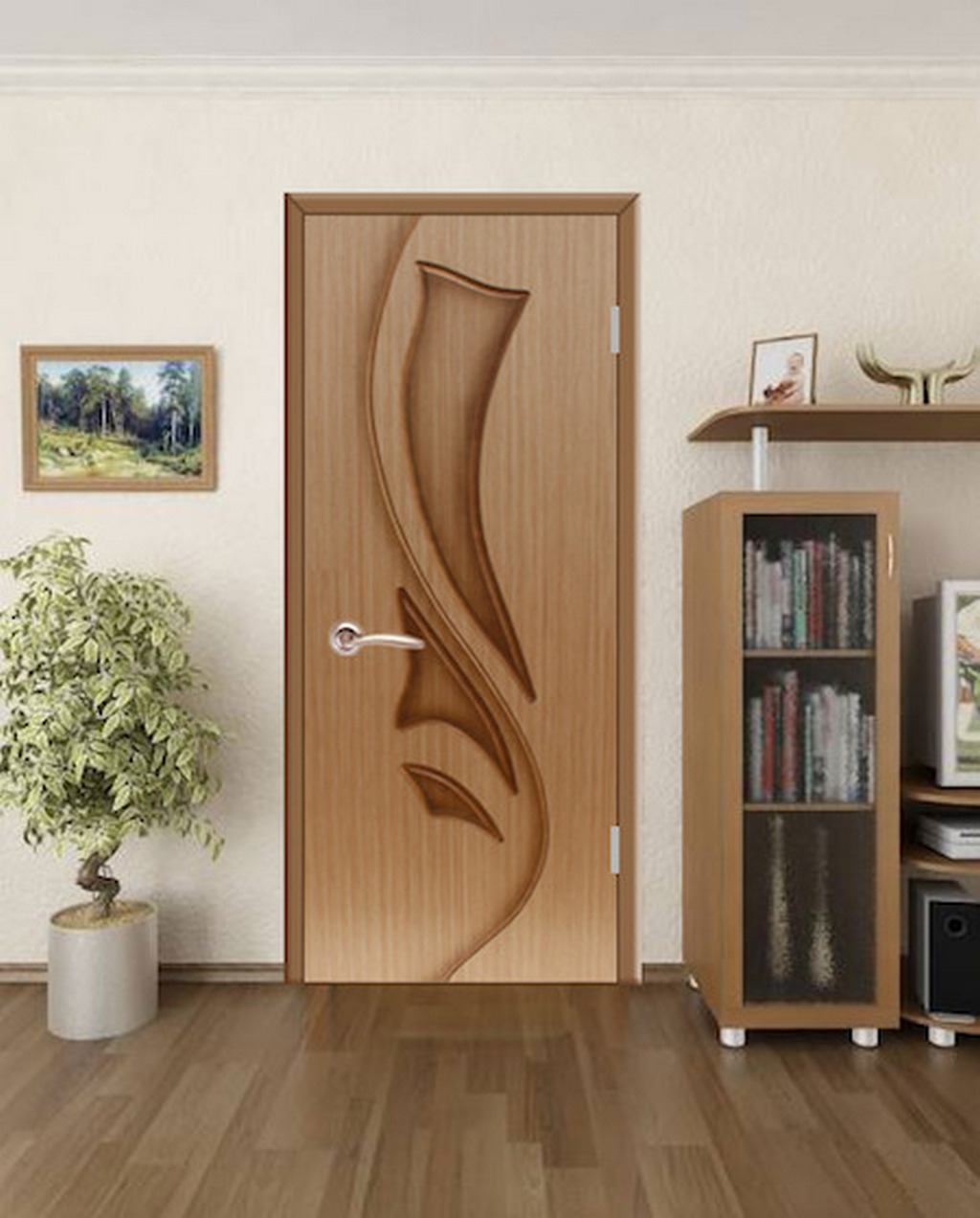Шпонированная дверь в интерьере гостиной. Цвет дуб