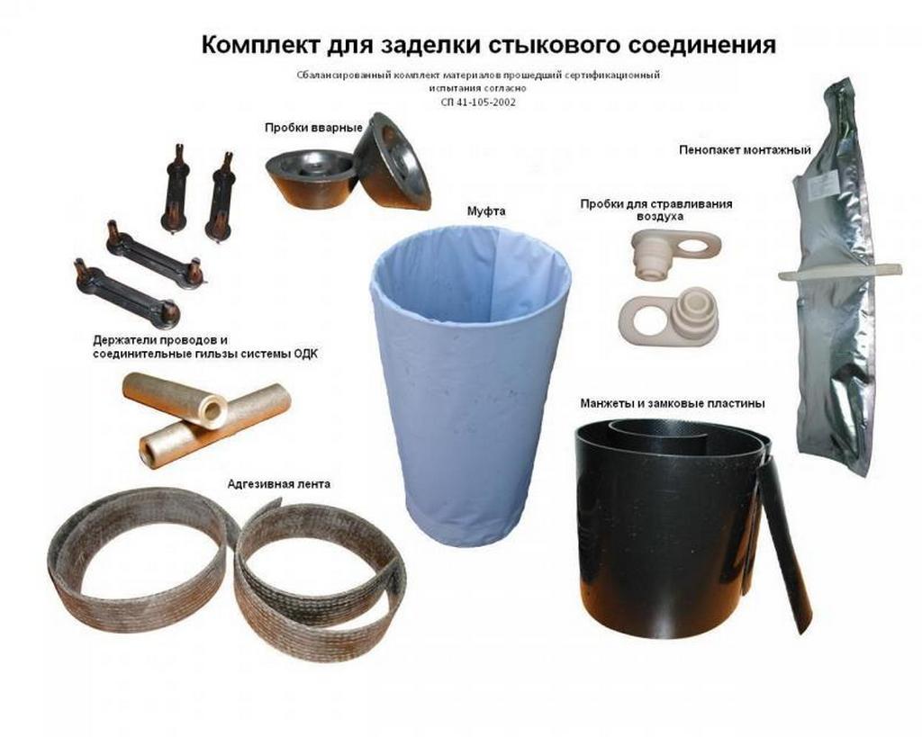 Состав комплекта для заделки стыков ППУ труб