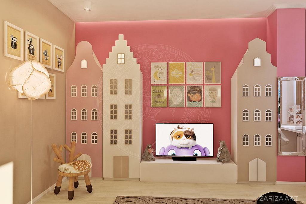 Детская в розовых тонах для маленькой принцессы