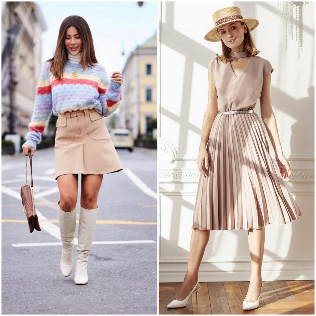 Бежевая юбка и платье - классика в каждом гардеробе