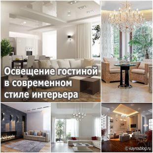 Освещение гостиной в современном стиле интерьера