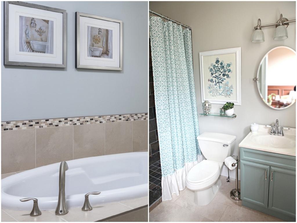 Декор ванной комнаты картинами