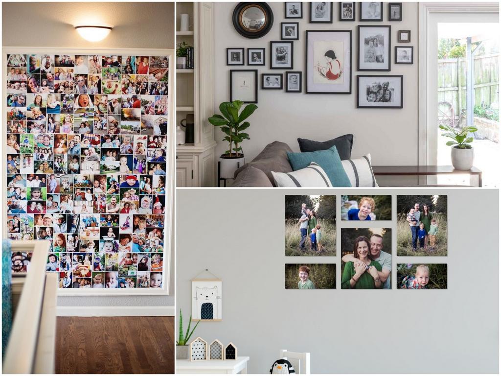 Варианты размещения фотографий на стене
