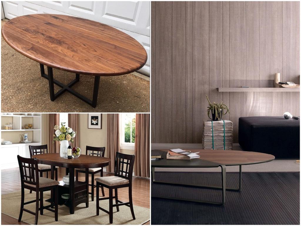 Разнообразие вариантов овальных столов для гостиной или столовой