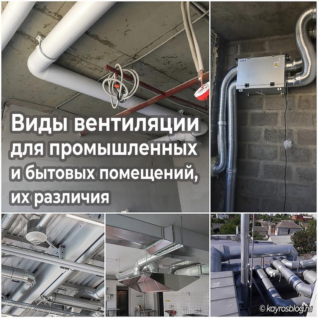 Виды вентиляции для промышленных и бытовых помещений, их различия