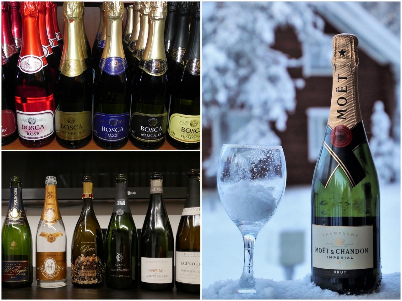 Шампанское, как украшение праздничного новогоднего стола