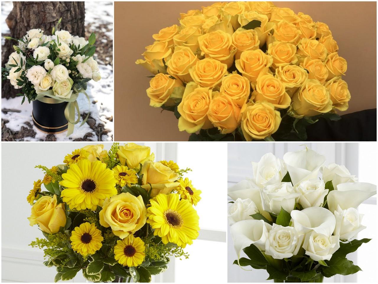 Белый и желтый букет цветов