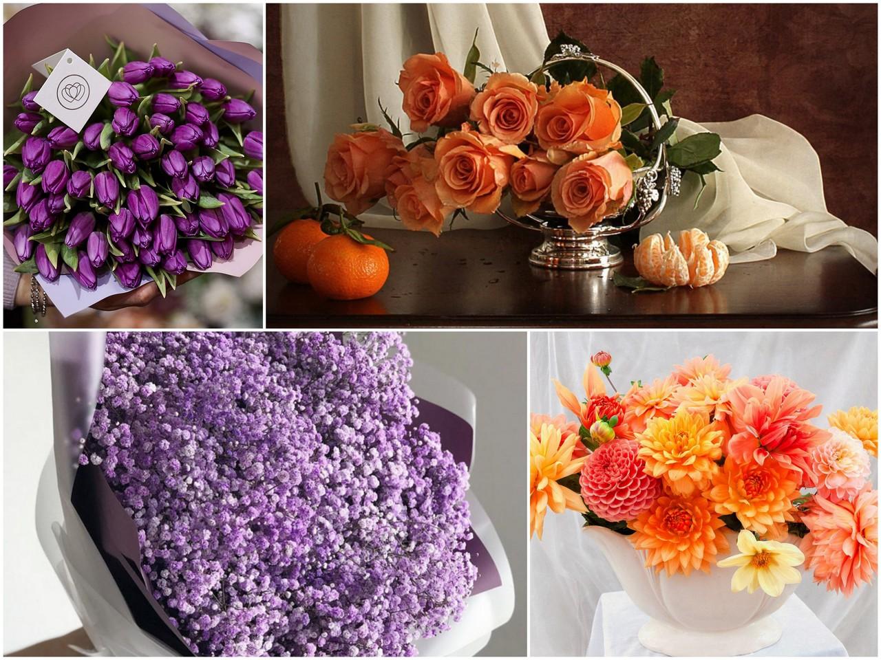 Фиолетовый и оранжевый букет цветов
