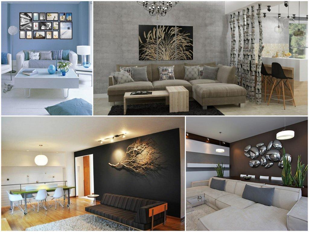 Декорирование стен в гостиной фальш-эффекты