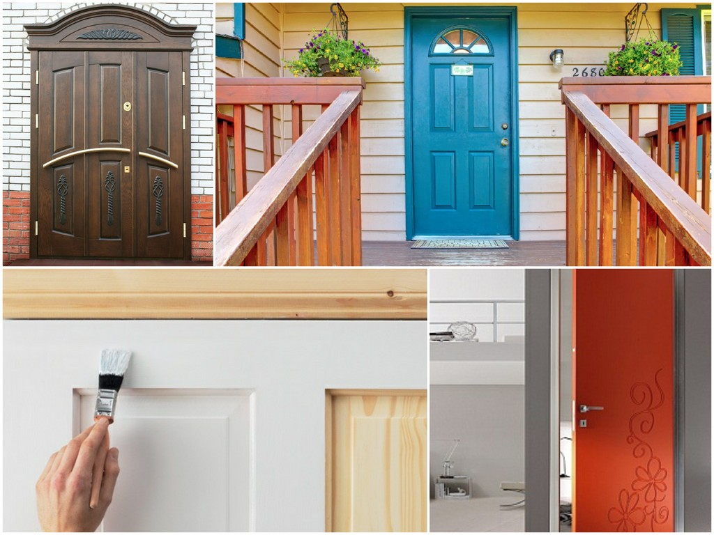 вариант отделки входной двери краской