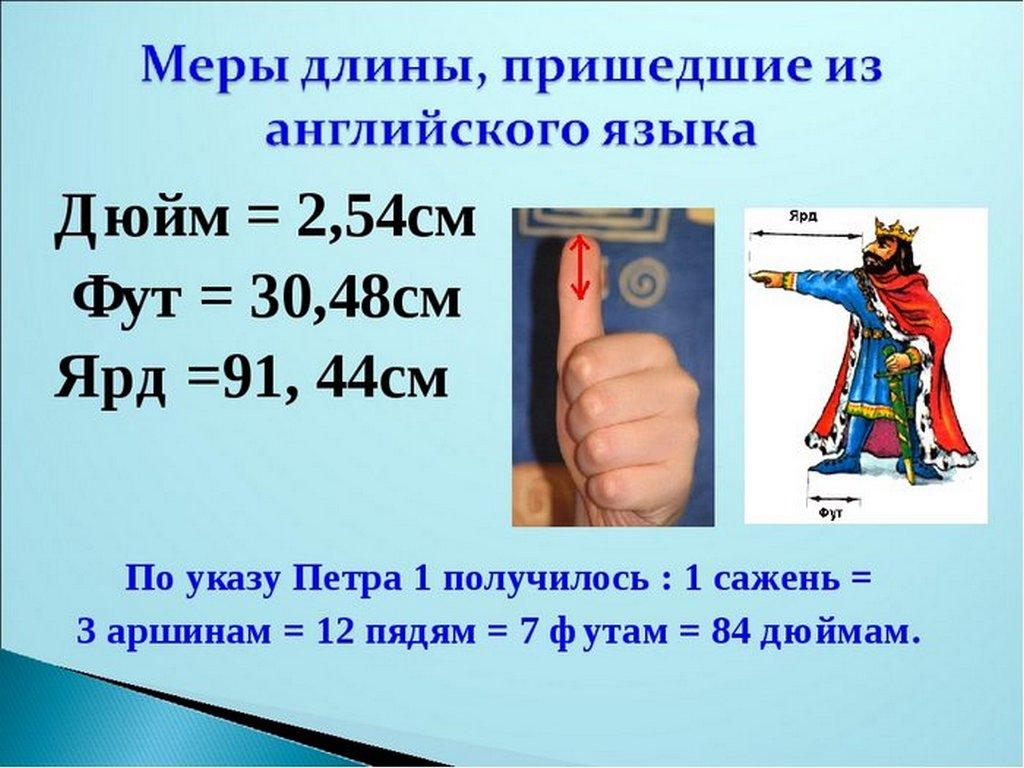 Дюймы и сантиметры