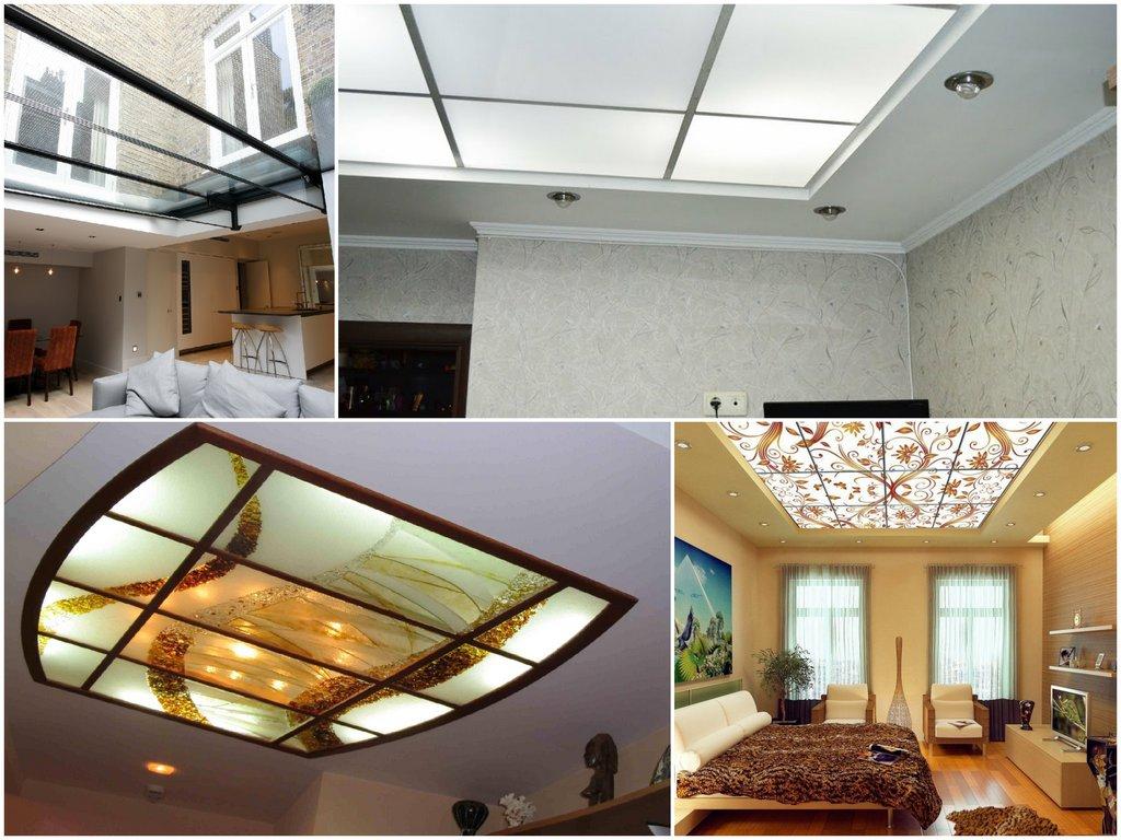 В чем преимущества потолков из стекла